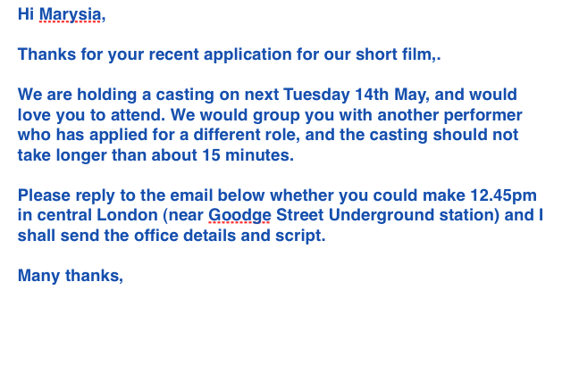 Casting Email