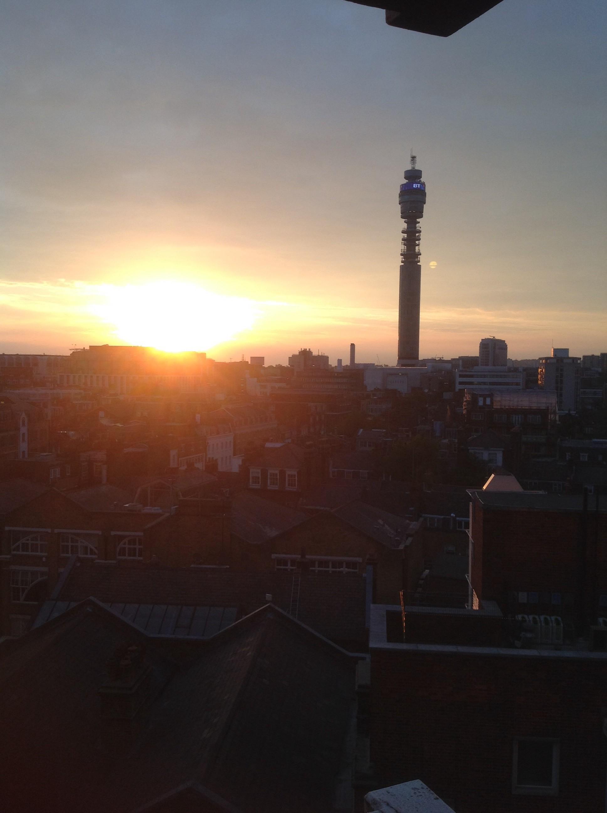 London sunset BT tower