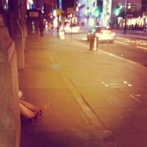 I saw these legs sticking out as I was walking down Piccadilly last night. Luckily these ladies were not dead, just eating chips at 2am sat on the floor in Soho!