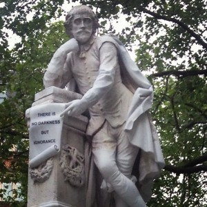 The Shakespeare statue in Leicester Square, London