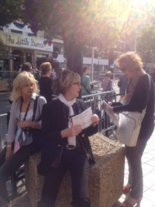 French ladies hoping to get invitation to the premiere that night, Cannes 2014