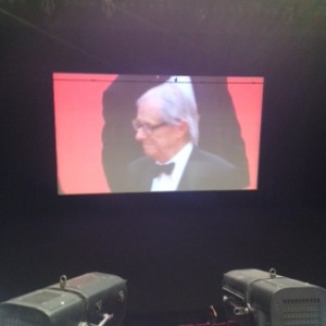 Ken Loach photograph from within the Lumiere Cannes premeire of Jimmy's Hall, waiting for him to walk in and the film to start!